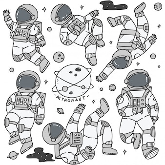 Set of astronaut in different poses