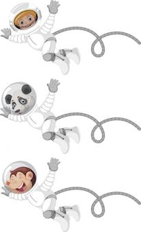 Set of astronaut man, panda and monkey isolated