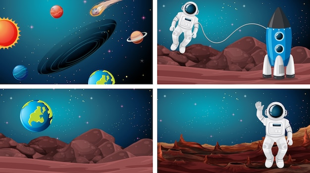 Set of astronaut in the space background