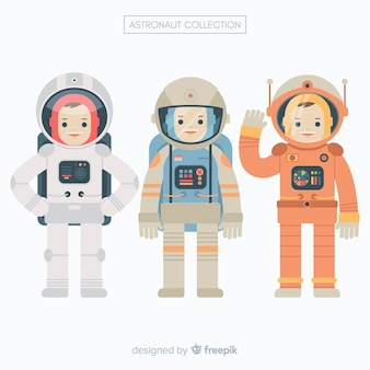 Set of astronauts in flat design