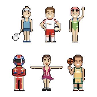 Set of athletes pixel art on white background