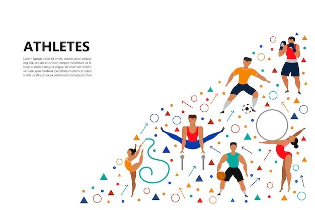 Set of athletic people.