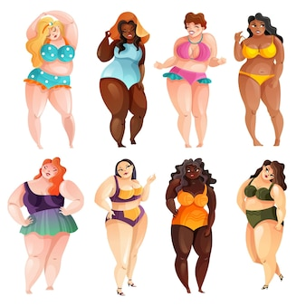 Set of attractive plus size women of various ethnicity in swim suits isolated