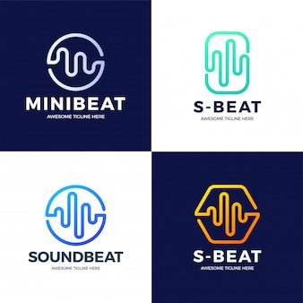 Set audio sound wave logo template design. line abstract music technology logotype. digital element emblem, graphic signal waveform, curve, volume and equalizer.   illustration.