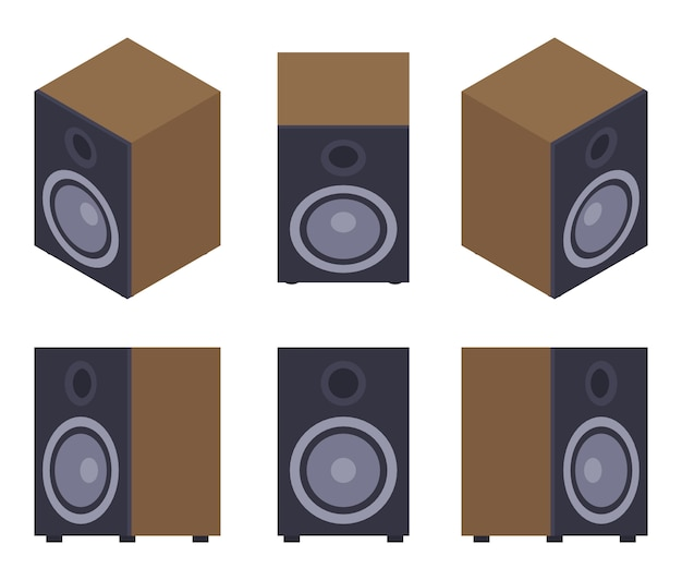 Set of the audio speakers