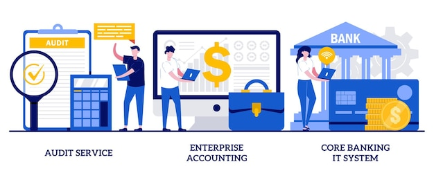 Set of audit service, enterprise accounting, core banking it system