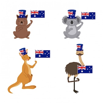 Insieme di animali dell'australia con bandiera, koala, canguro, struzzo