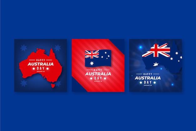 Set di cartoline d'auguri di australia day