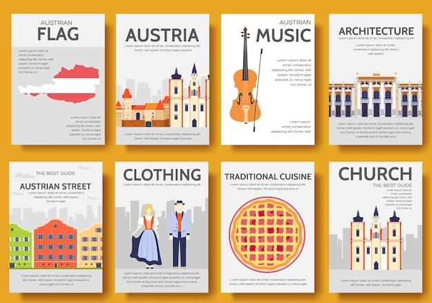 Set of austria country ornament travel trip. art traditional, poster, abstract, ottoman motifs.