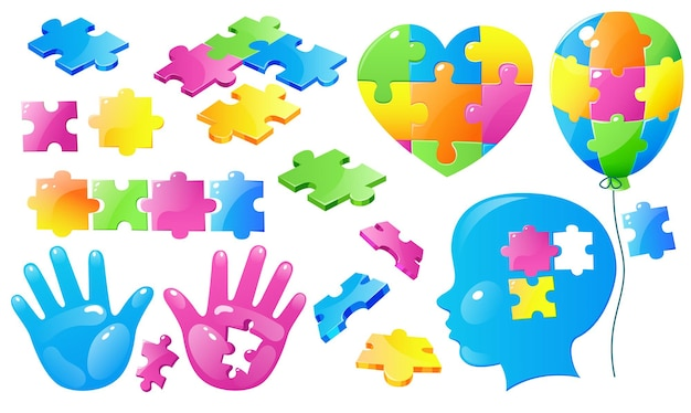Set autism world day awareness colorful puzzle pieces.