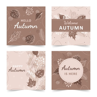 Set of autumn backgrounds with abstract elements, geometric shapes, plants and leaves in one line style.