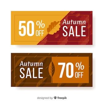 Set of autumn banner flat style