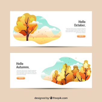 Set of autumn banners in flat style