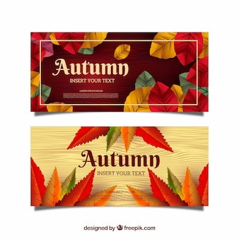 Set of autumn banners in realistic style