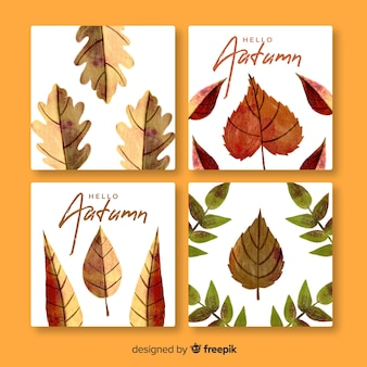 Set of autumn cards watercolor style