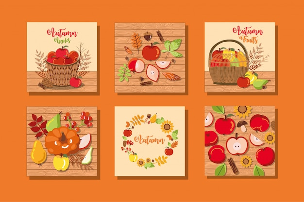 Set of autumn cards with decoration