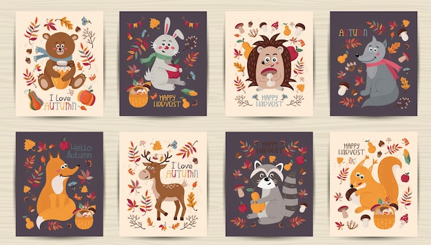 Set of autumn cards with forest animals