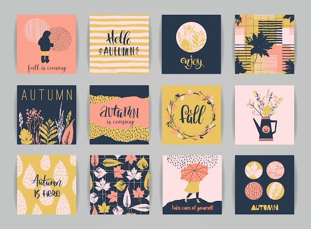 Set of autumn cards.