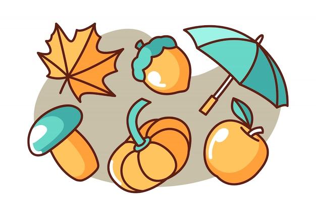 Set of autumn cartoon illustration