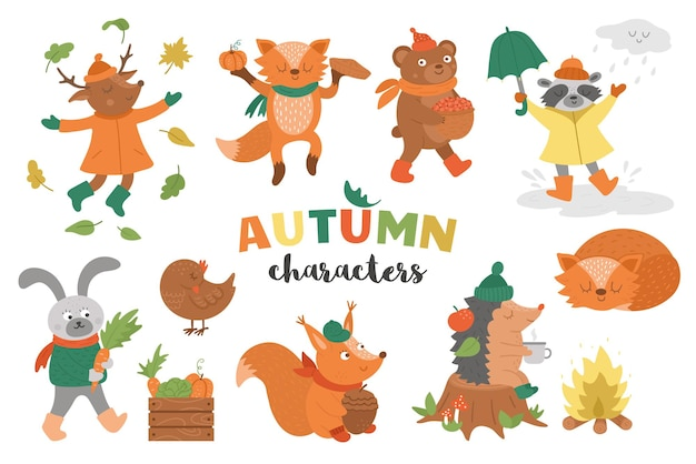 Set of autumn characters cute woodland animals collection fall season icons pack
