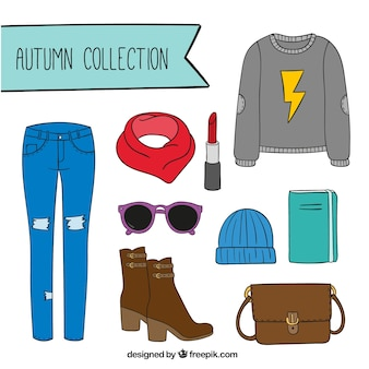 Set of autumn clothes with accessories