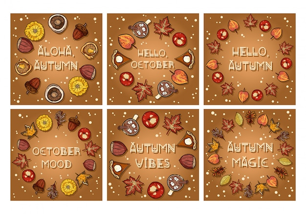 Set of autumn decorative wreaths cute cozy cards