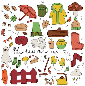 Set of autumn doodle elements