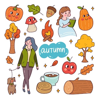 Set of autumn doodle isolated on white Premium Vector