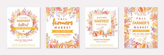 Set of autumn farmers market banners with leaves and floral elements.local food fest design perfect for prints,flyers,banners,invitations.fall harvest festival.vector autumn illustrations.
