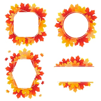 Set of autumn frames created from maple leaves