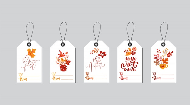Set of autumn gift box tags with fall calligraphy
