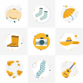 Set of autumn illustrations for instafeeds. a sweater, socks, umbrella, boots, camera, hat, leaves, scarf, and guitar. flat vector illustration.