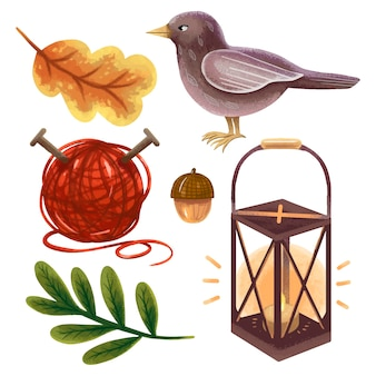 A set of autumn illustrations in procreate leaves, a bird, a lantern, an acorn, a ball of knitting thread, cozy, homely, hugge