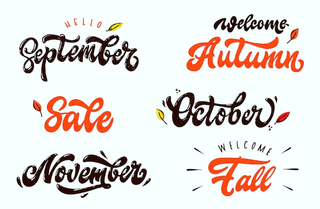 Set of autumn lettering quotes