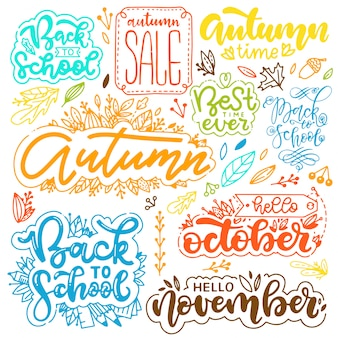 Set of autumn lettering.