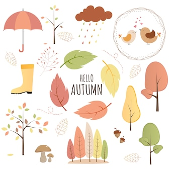 Set of autumn objects
