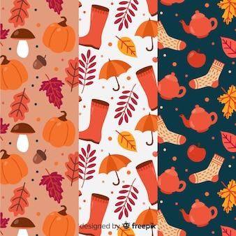 Set of autumn patterns flat design