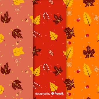 Set of autumn patterns flat design