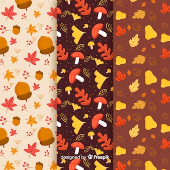Set of autumn patterns hand drawn style
