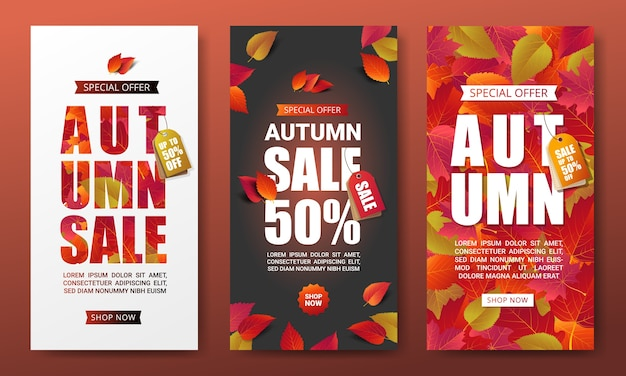 Set of autumn sale banners layout template