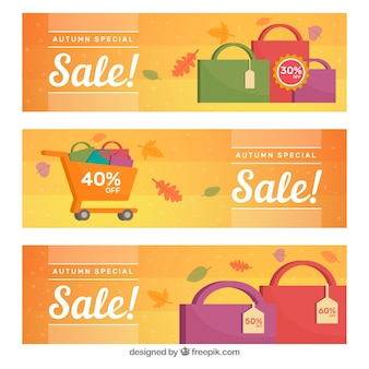 Set di banner di vendita autunno con borse della spesa