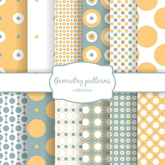 Set of autumn seamless patterns geometry element circles and dots.