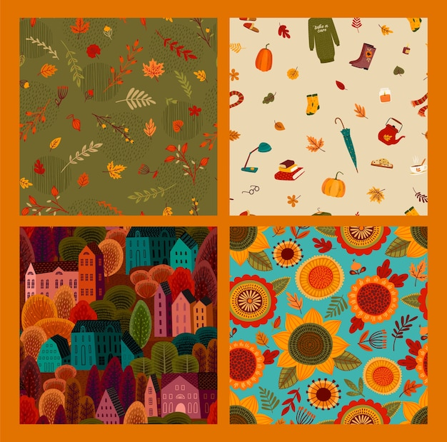 Set of autumn seamless patterns.