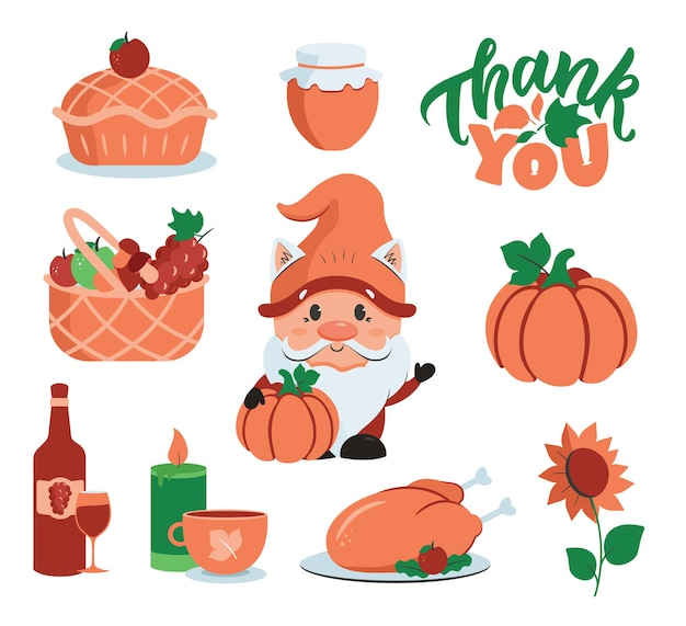 The set of autumn stickers with gnome the pumpkin and icons for thanksgiving day