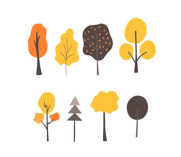 Set of autumn trees in a scandinavian style on white background. flat vector illustration.