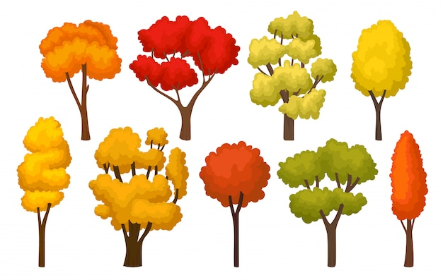 Set of autumn trees with bright leaves. forest plants for mobile game. nature theme