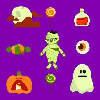Set of autumn vector illustrations for halloween