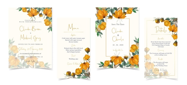Set of autumn wedding invitation card with gorgeous flowers