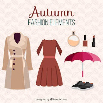 Set of autumnal clothes and items