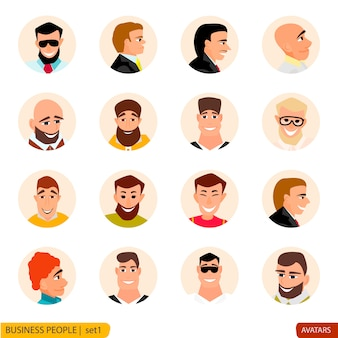 Set avatars businessmen